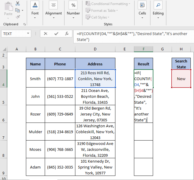 IF-COUNTIF Formula - IF Partial Match Excel