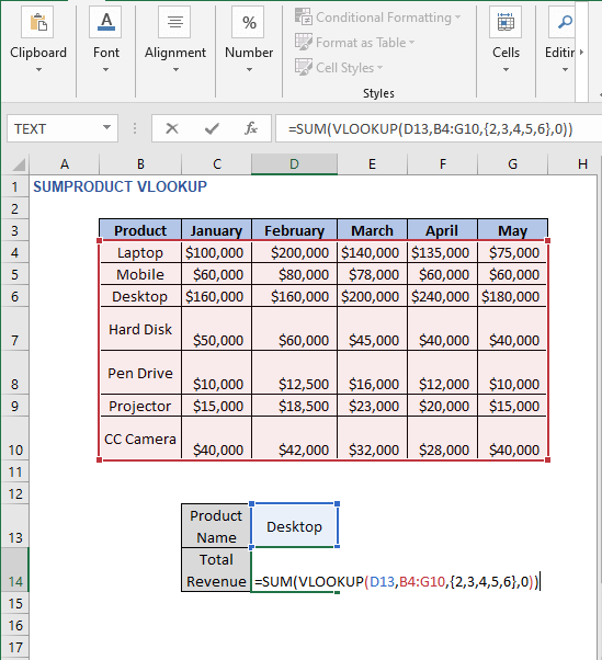 SUM function in formula - SUMPRODUCT VLOOKUP