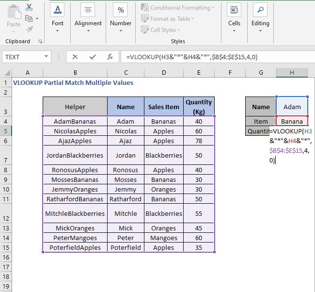 VLOOKUP formula - VLOOKUP Partial Match Multiple Values