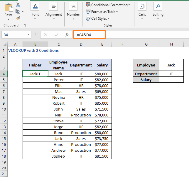 Concatenate result - VLOOKUP with 2 Conditions