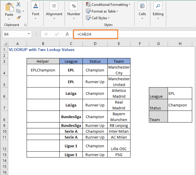 Result of helper column - VLOOKUP with Two Lookup Values