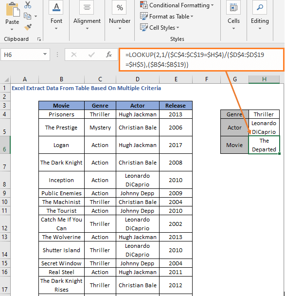 LOOKUP formula - Excel Extract Data From Table Based On Multiple Criteria