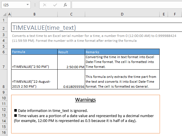 timevalue function excel syntax and examples