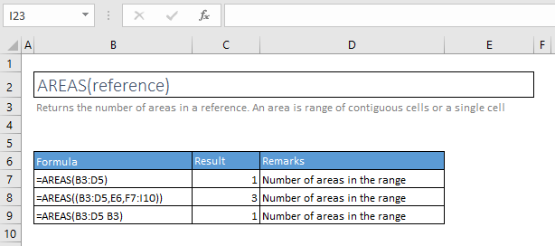 areas function excel syntax and examples