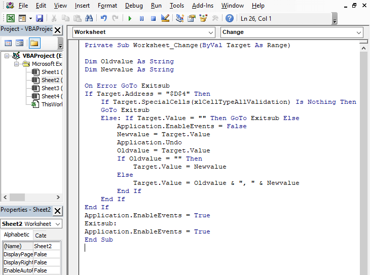 Code - allows duplicates - Excel Drop Down List Multiple Selection