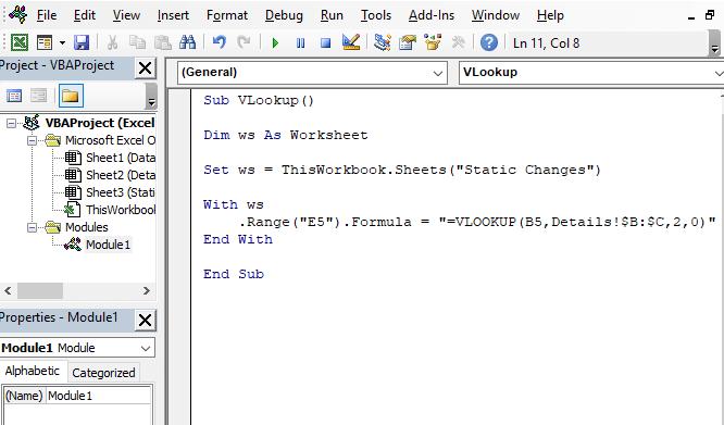 Change in static code - Excel VBA VLOOKUP in Another Worksheet