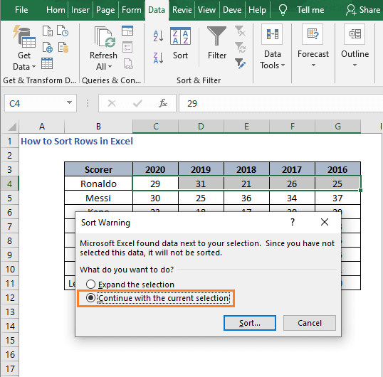 Continue with current - How to Sort Rows in Excel