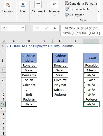 VLOOKUP Formula result drag - VLOOKUP to Find Duplicates in Two Columns