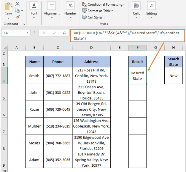 IF-COUNTIF formula result - IF Partial Match Excel