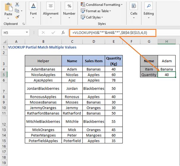 VLOOKUP formula result - VLOOKUP Partial Match Multiple Values