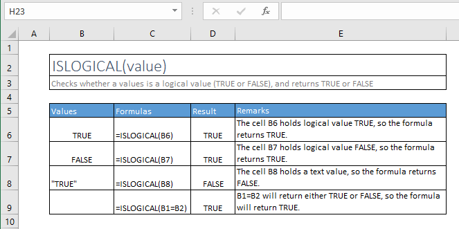 islogical function excel syntax and examples