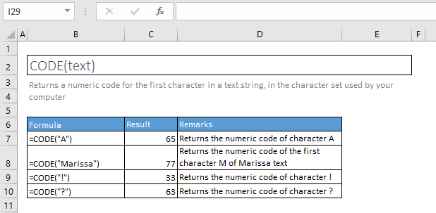 code function excel syntax and examples