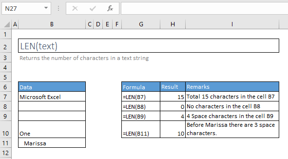 len function excel syntax and examples