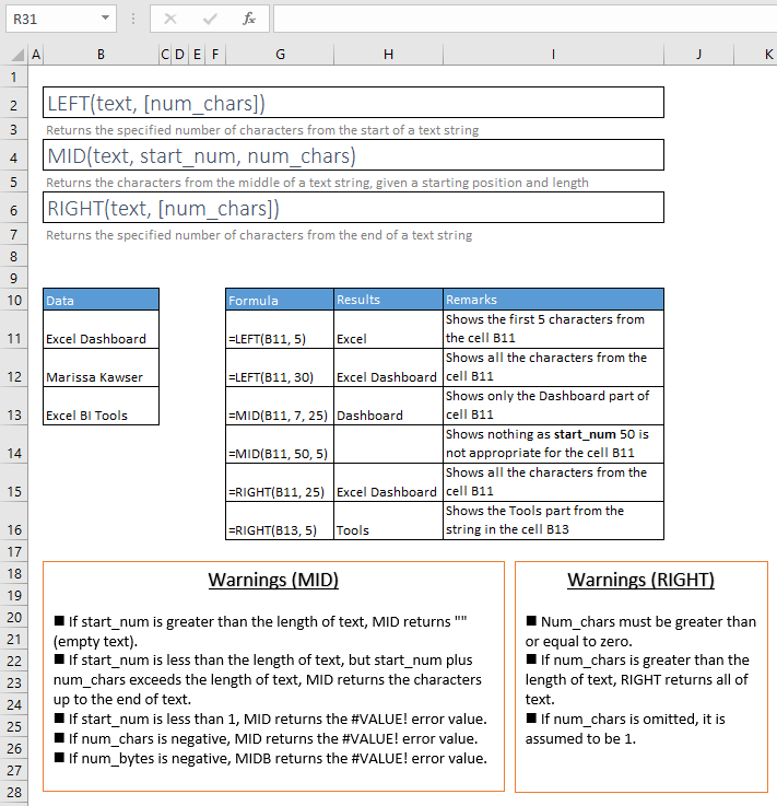 left, mid and right functions excel syntax and examples