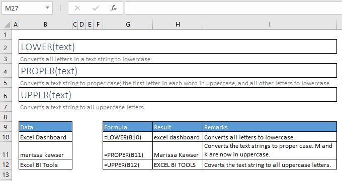 lower, proper, and upper functions excel with syntax and examples