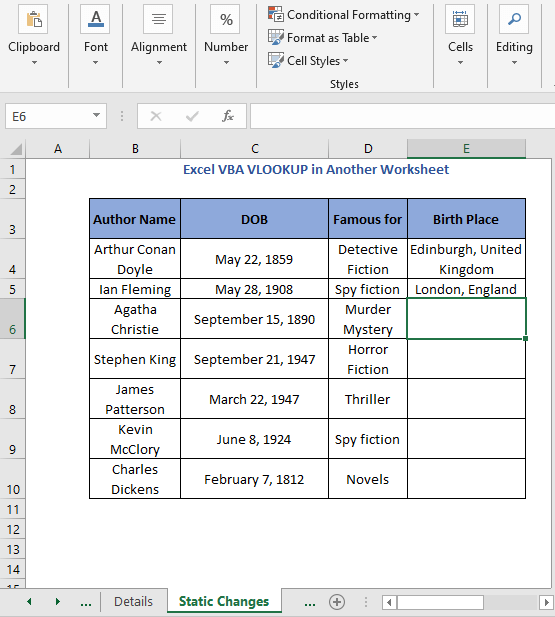 Static code output 2 - Excel VBA VLOOKUP in Another Worksheet