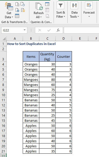 Sort column in ascending order - How to Sort Duplicates in Excel
