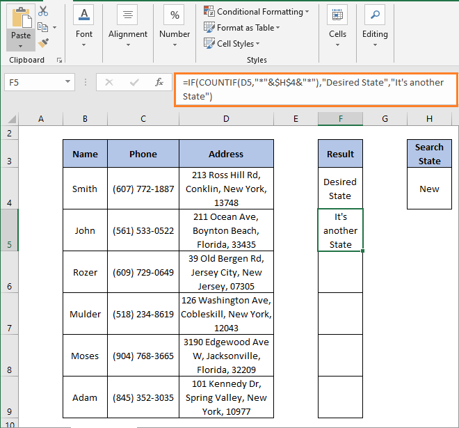 IF-COUNTIF result 2 - IF Partial Match Excel