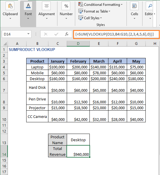 Result of SUM formula - SUMPRODUCT VLOOKUP