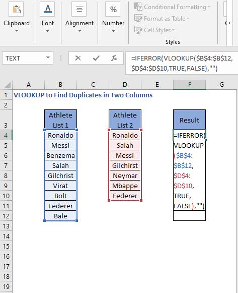 IFERROR VLOOKUP Formula - VLOOKUP to Find Duplicates in Two Columns