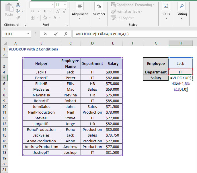 VLOOKUP formula - VLOOKUP with 2 Conditions