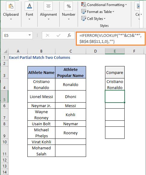 IFERROR- VLOOKUP formula result 2 - Excel Partial Match Two Columns