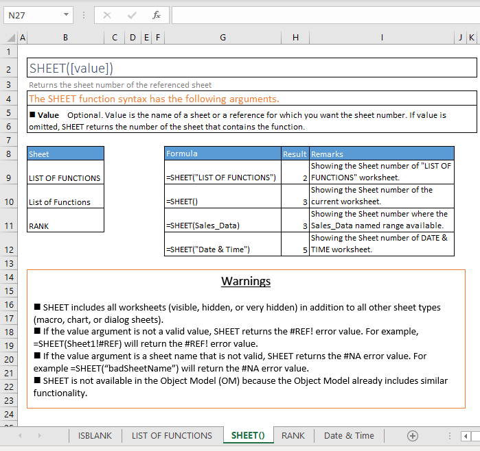 sheet function excel syntax and examples