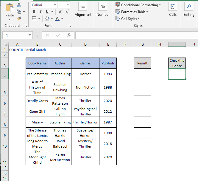 User friendly example dataset - COUNTIF Partial Match