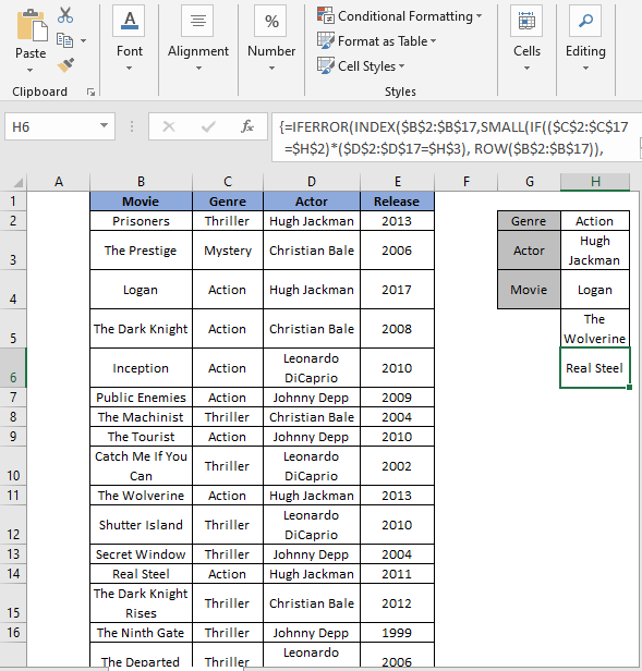 INDEX-SMALL Formula Complete result - Excel Extract Data From Table Based On Multiple Criteria