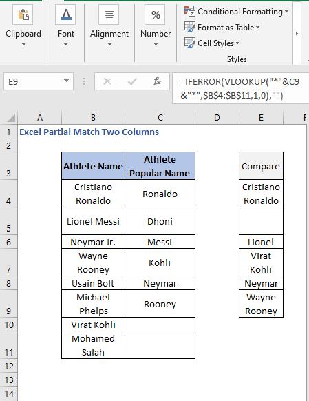 IFERROR- VLOOKUP formula AutoFill - Excel Partial Match Two Columns
