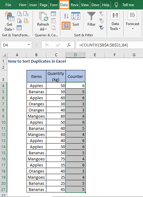 Select column and Z to A - How to Sort Duplicates in Excel