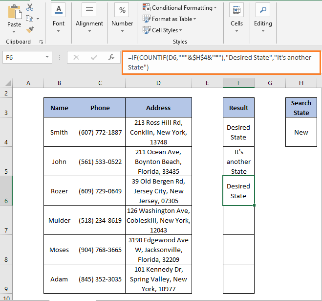 IF - COUNTIF result 3 - IF Partial Match Excel