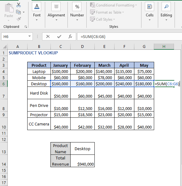SUM result - SUMPRODUCT VLOOKUP