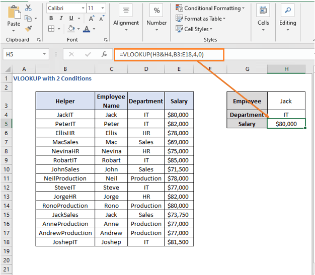 VLOOKUP formula result - VLOOKUP with 2 Conditions