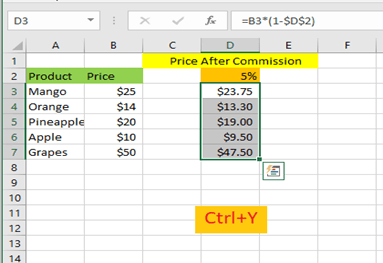Enter Ctrl+Y and all the values will be calculated within the range