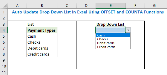 Auto Update Drop Down List in Excel Using OFFSET and COUNTA Functions