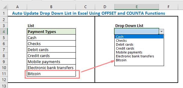 Auto Update Drop Down List in Excel