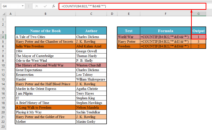 Quick View to COUNTIF Cell Contains Specific Text