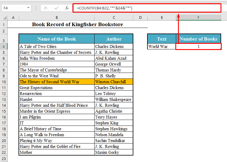 Asterisk Symbol to COUNTIF Cell Contains Specific Text