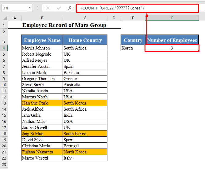 Question Mark to COUNTIF Cell Contains Specific Text