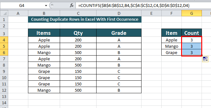 Count duplicate rows