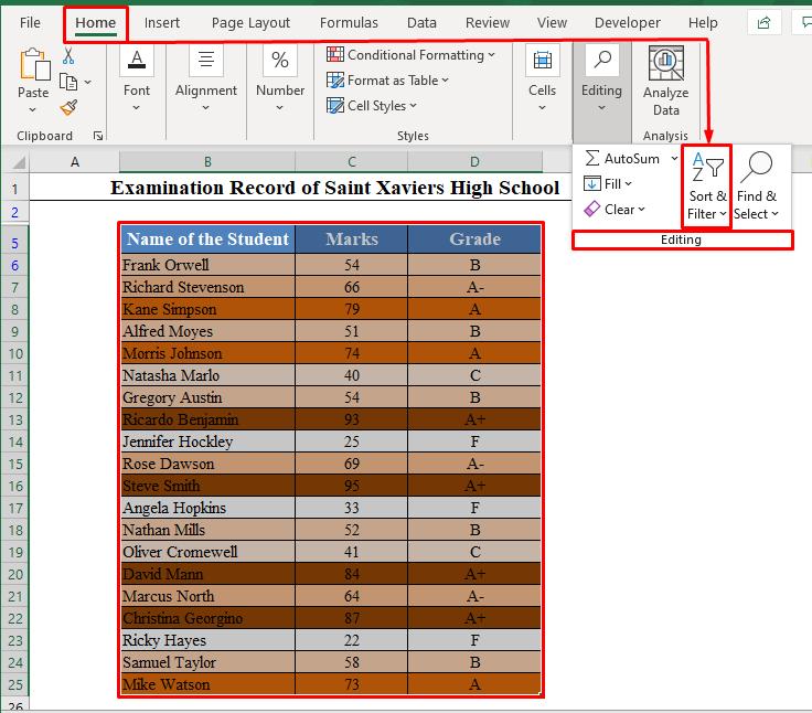 Sort & Filter Tool in Excel Toolbar