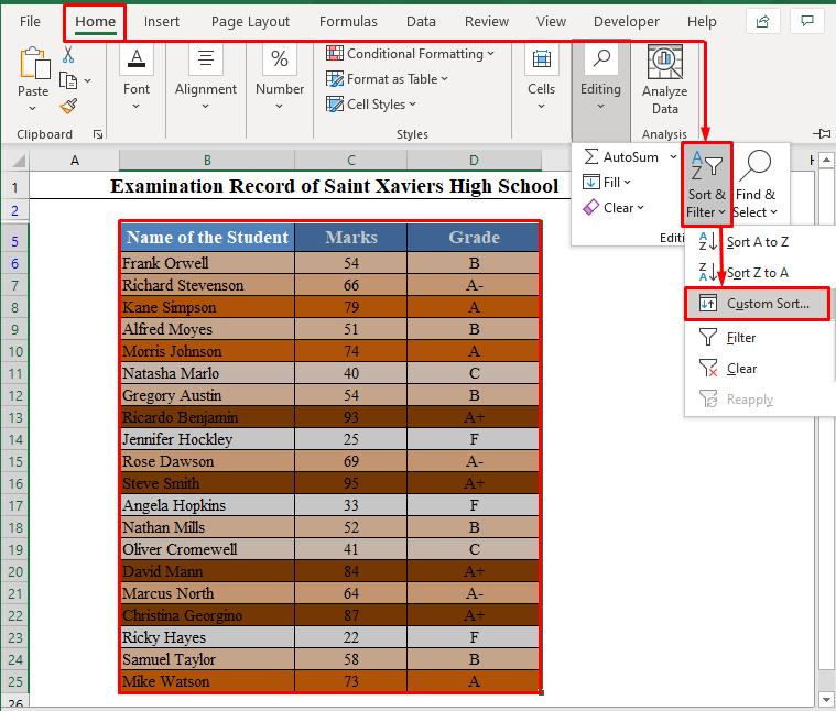 Custom sort from Sort & Filter
