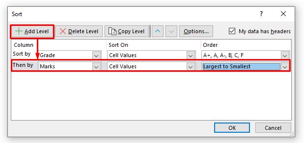 Adding Second Level to Sort Panel