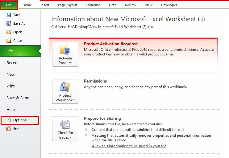 File>Options Menu in Excel Toolbar
