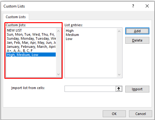 Custom Lists Dialogue Box in Excel
