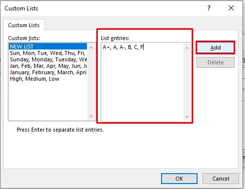 Adding a List in Custom Lists Dialogue Box