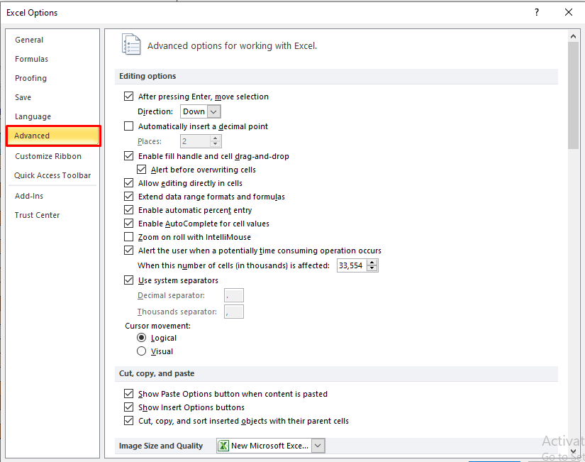 Exccel options Window