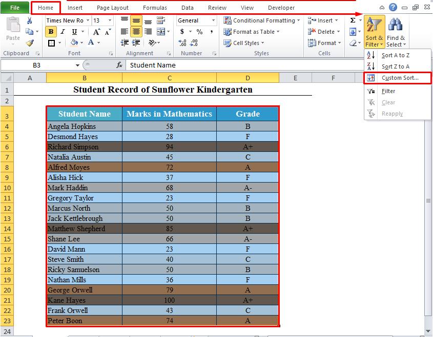 Custom Sort from Sort & Filter in Excel Toolbar