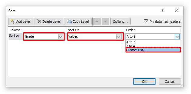 Sort Dialogue Box in Excel